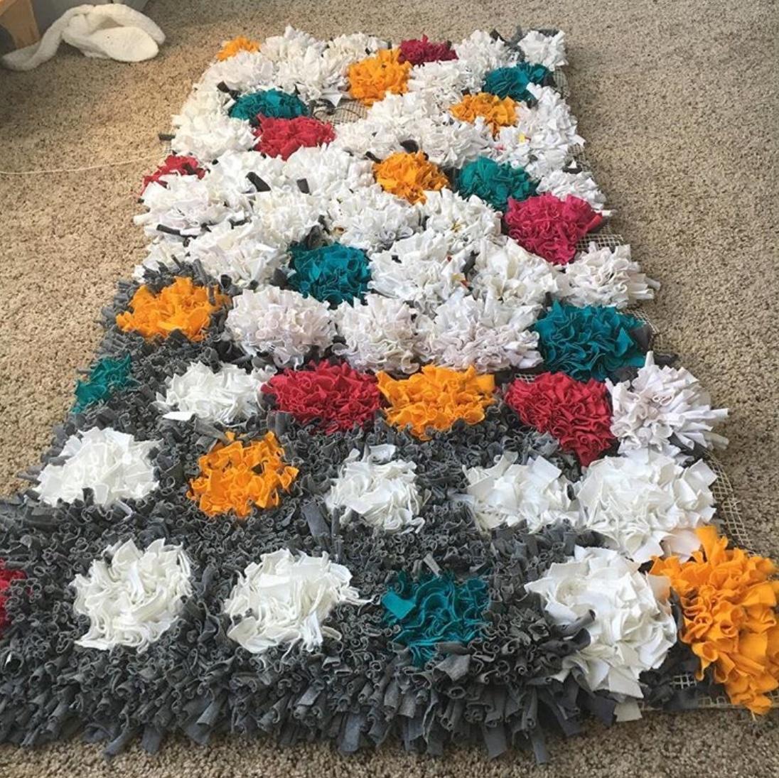 diy upcycled tshirt rug