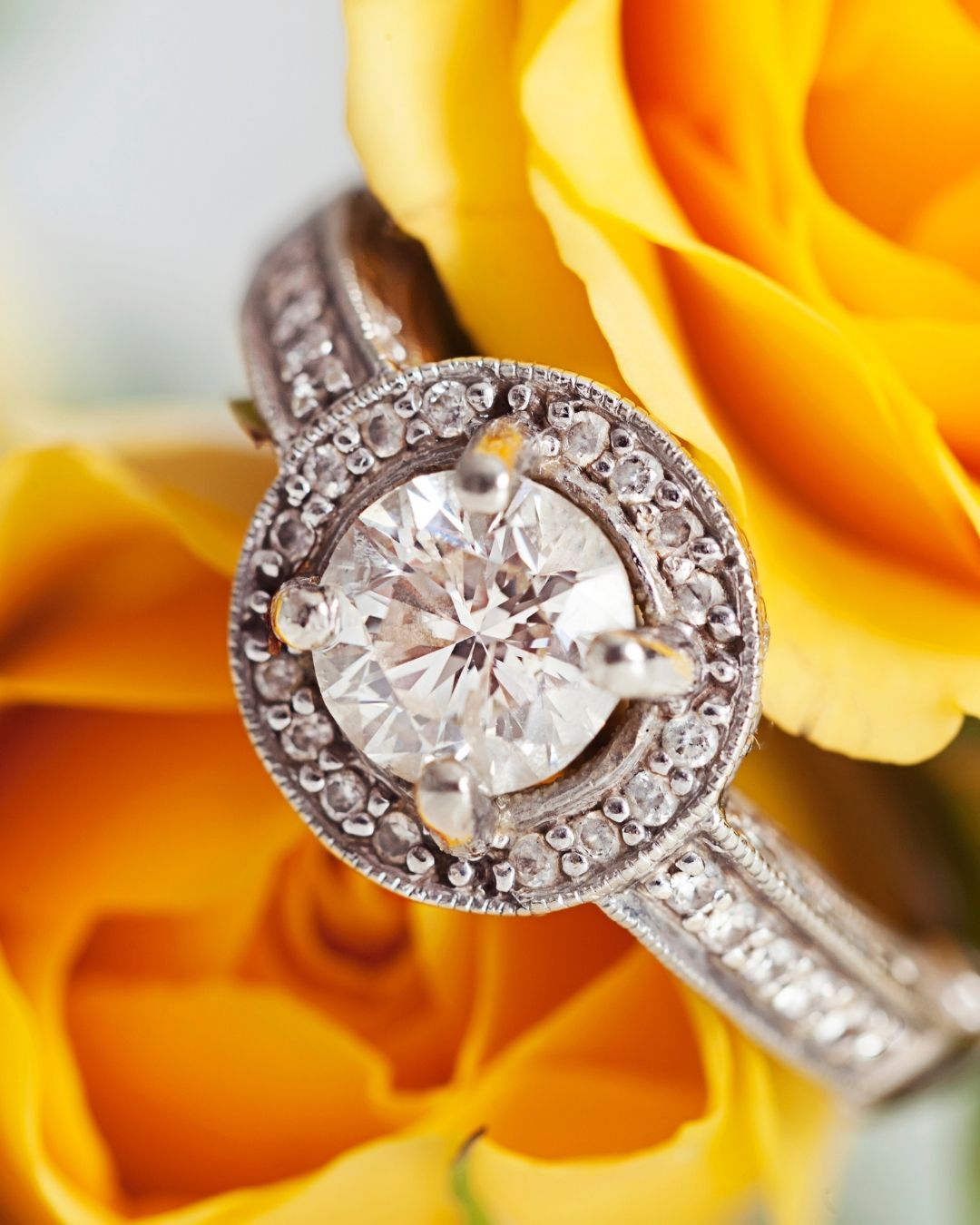 diamond engagement ring in yellow rose