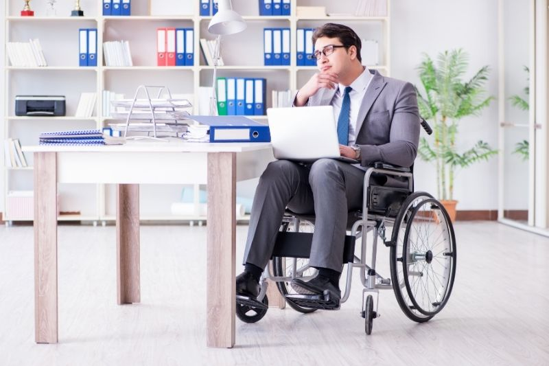disabled businessman working