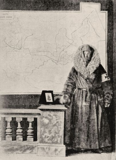 Marsden wearing the clothes she wore during her travels in Siberia & a map showing her route