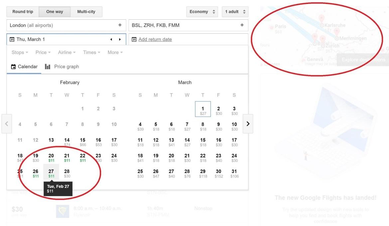 Google Flights est un excellent outil pour trouver les dates à rabais entre 2 villes