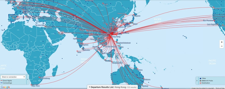 Direct OneWorld flights connecting Hong Kong