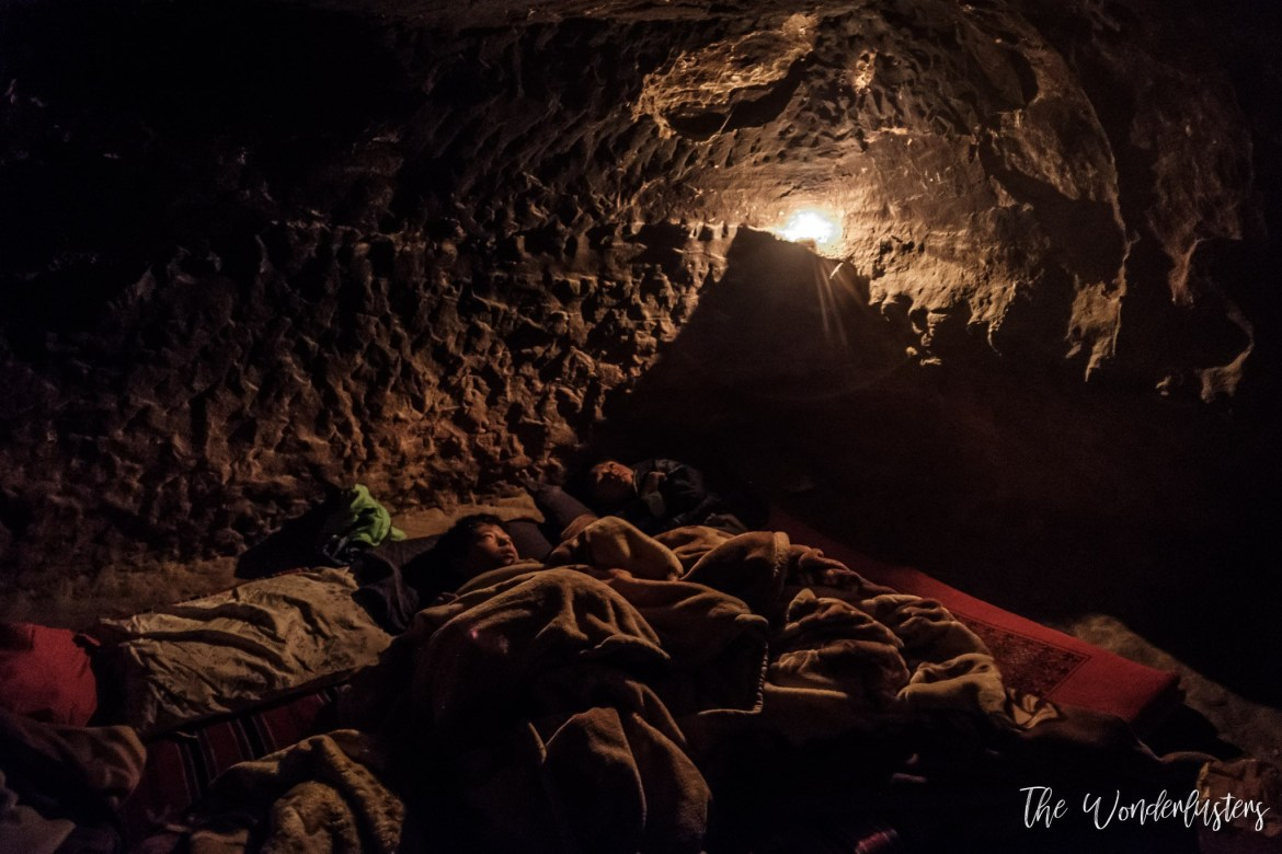 Sleeping in a cave in Petra
