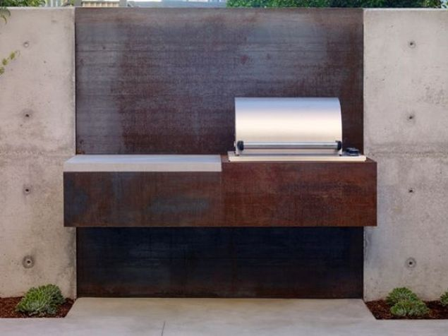 Corten steel outdoor kitchen.