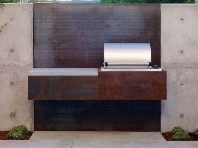 Corten steel outdoor kitchen.