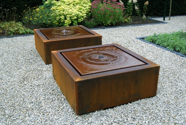Corten steel water feature.