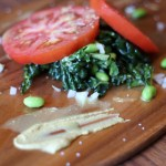 Kale and Beefsteak Tomato Salad with Soybeans, Onion and Homemade Mustard Viniagrette