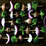 Grilled Broccoli, Red Onion and Portabella Mushroom Skewers