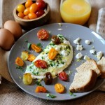 Goat Cheese Omelette with Roasted Heirloom Tomatoes