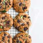 Healthy Chocolate Chip Cookies with Carrots, Zucchini and Spinach - a kid-friendly cookie! #healthyeating #healthycookie