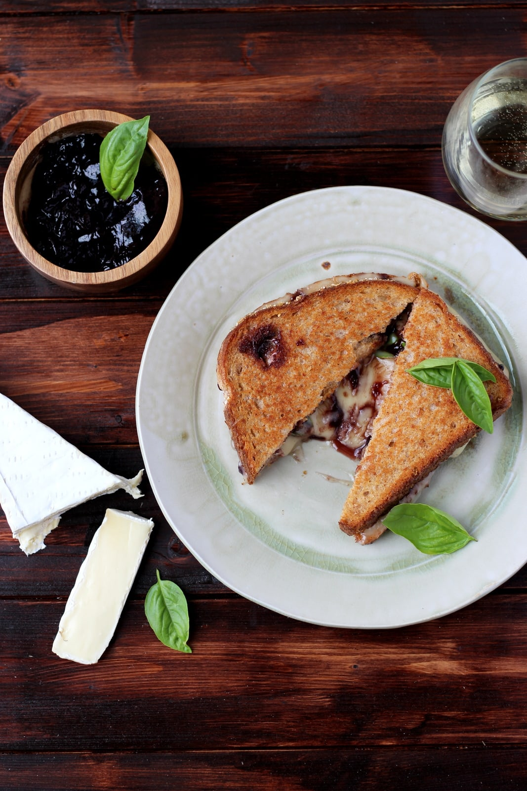 baked brie grilled cheese with sweet basil and boysenberry