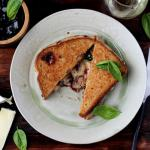 Baked Brie Grilled Cheese with Sweet Basil and Boysenberry Jam