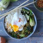 Vegetarian Rice Bowl with Braised Bok Choy, Leeks and Spinach with Poached Egg - thewoodenskillet.com