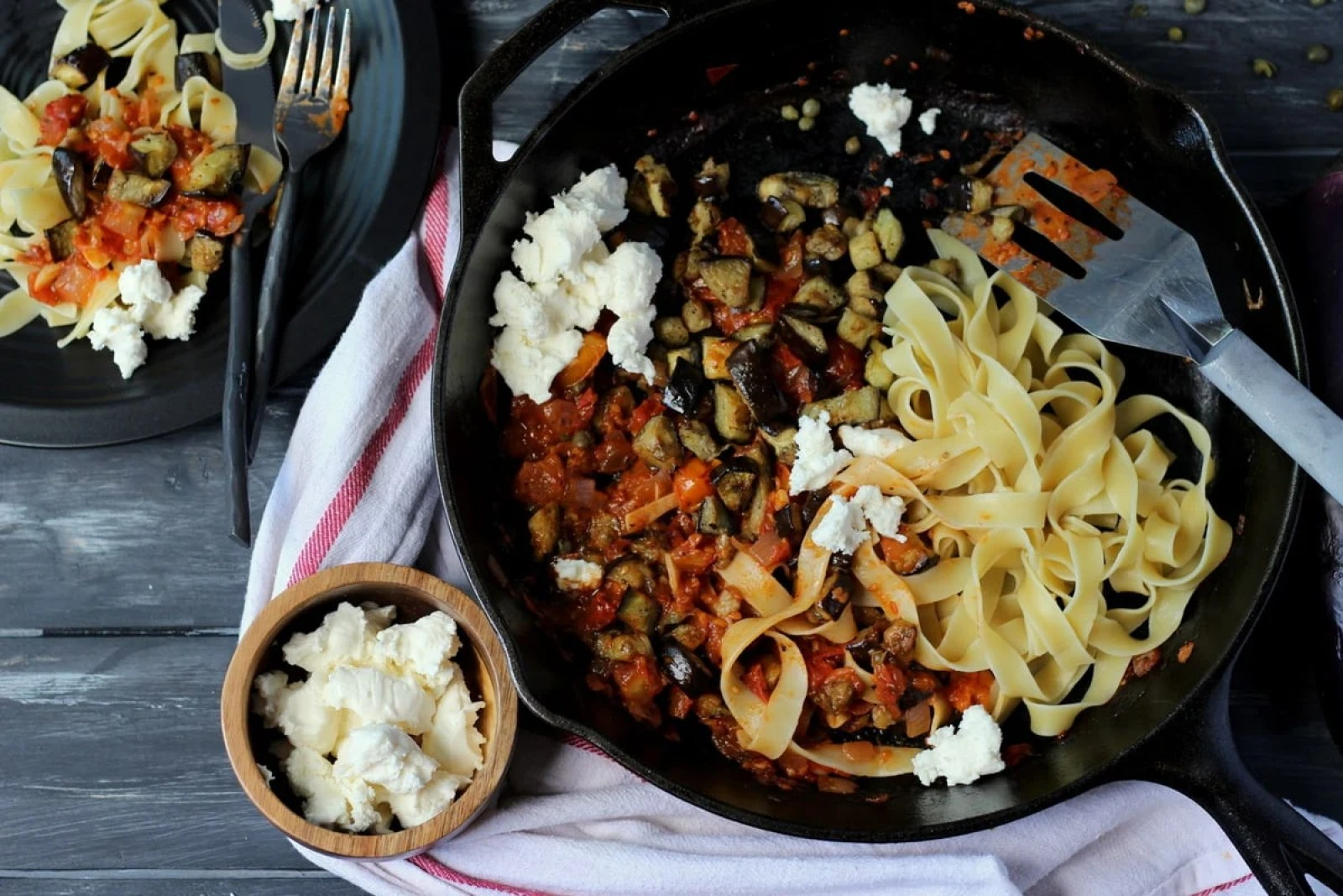 Roasted Eggplant Ragu + Pappardelle Pasta - thewoodenskillet.com #vegetarian #meatless