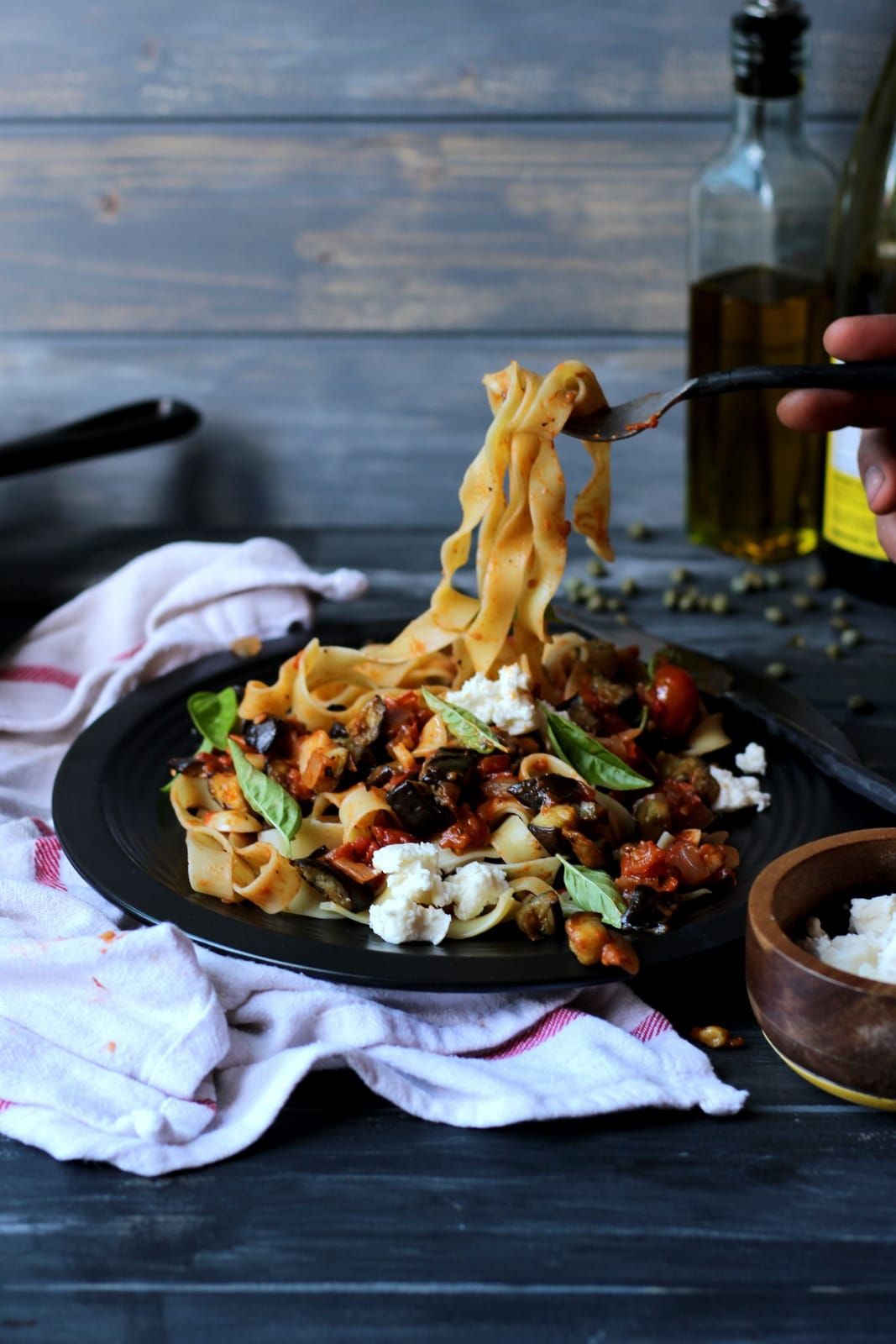 Roasted Eggplant Rague + Pappardelle Pasta - thewoodenskillet.com #meatless #pastanight