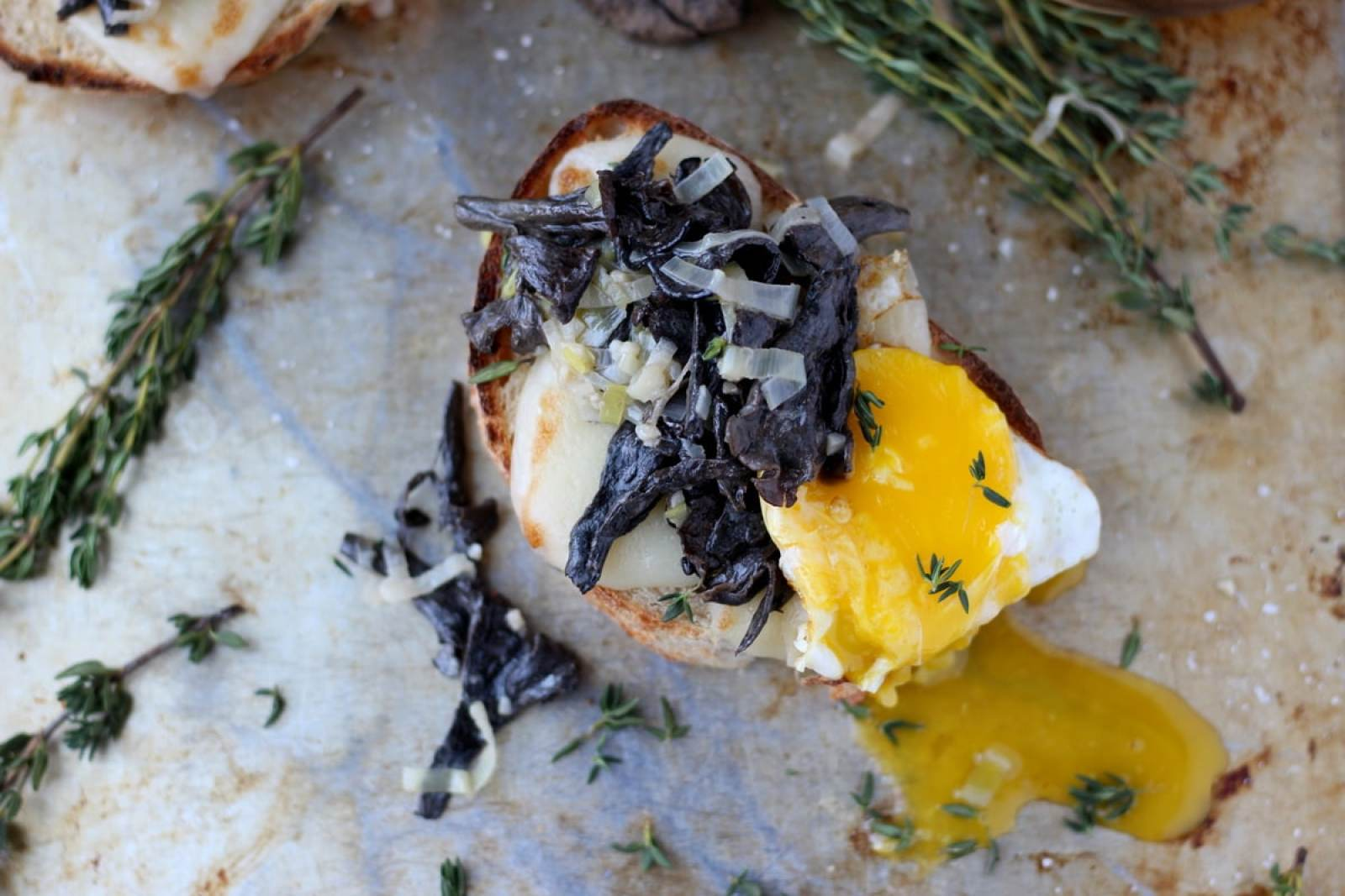 Creamy Leeks and Black Trumpet Mushrooms on Toast with Cheese and Poached Egg - a great recipe for the fall - thewoodenskillet.com
