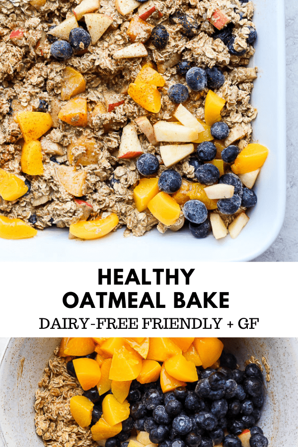 Healthy Oatmeal Bake -this is the perfect recipe for when you are serving a crowd OR for someweekend meal-prep! It reheats perfectly and is always a hit! This is a recipe you are going to want to save! #healthyoatmealbake #oatmealbake #bakedoatmeal #healthybakedoatmeal #healthybreakfast #oatmeal #glutenfreerecipes
