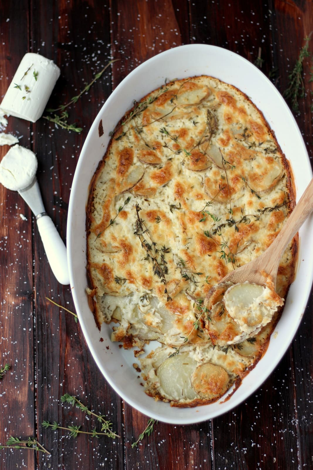 Goat Cheese Au Gratin Potatoes + Browned Butter and Fresh Thyme - perfect side dish recipe for Thanksgiving or any meal! thewoodenskillet.com #foodphotography #foodstyling