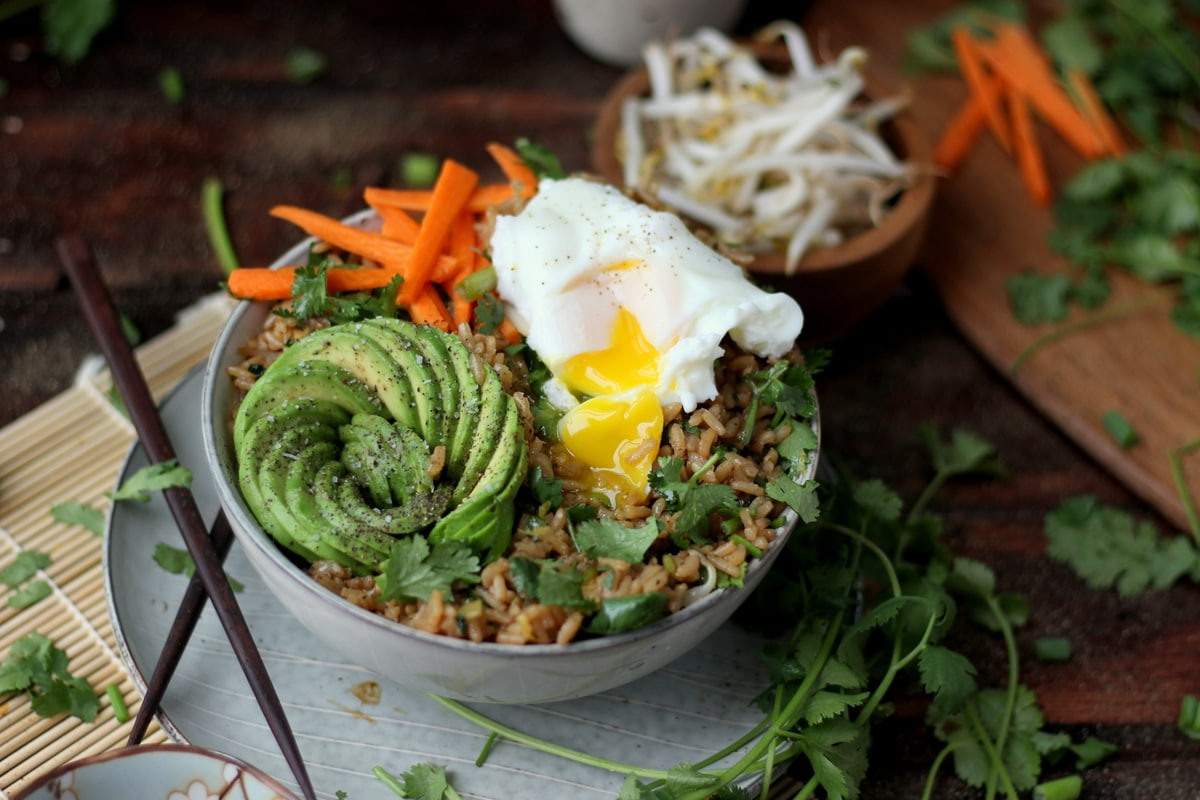 Cilantro Fried Rice Bowl + Avocado and Poached Egg