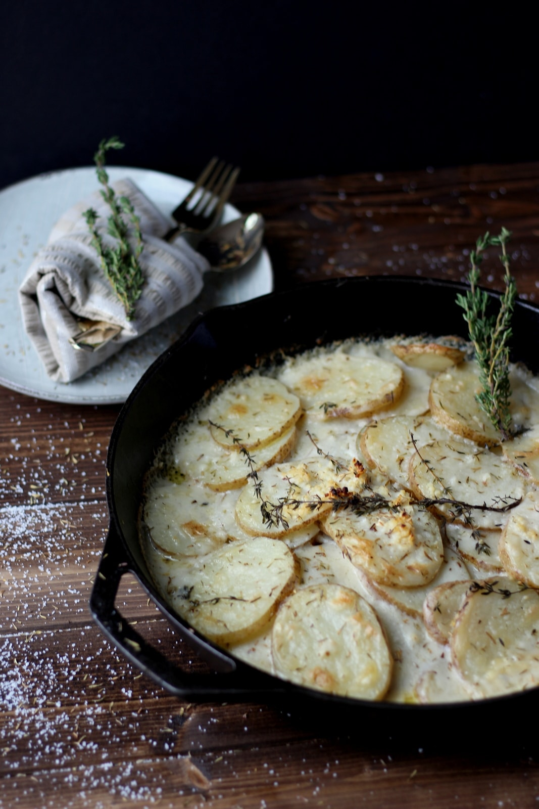 Goat Cheese Potatoes Au Gratin + Browned Butter and Fresh Thyme - thewoodenskillet.com #foodphotography #foodstyling