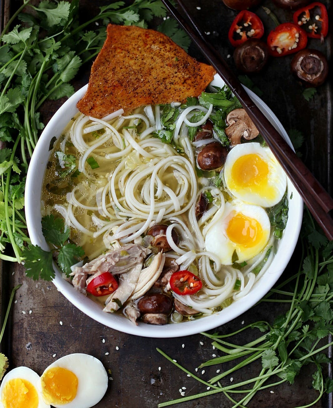 Chicken Ramen Noodle Soup + Crispy Chicken Skins - thewoodenskillet.com #foodphotography #foodstyling