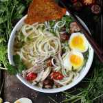 Chicken Ramen Noodle Soup + Crispy Chicken Skins and Cilantro