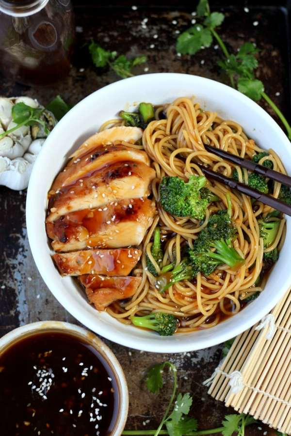 Simple Teriyaki Noodle Bowl - The Wooden Skillet