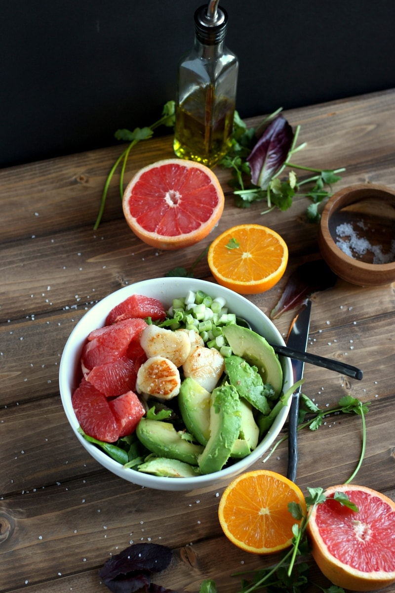 Seared Scallop Salad + Grapefruit and Avocado. A healthy, quick and easy salad! thewoodenskillet.com #salad