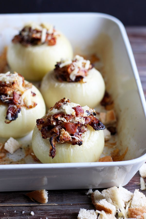 Stuffed Onions + Bacon and Gruyere Cheese