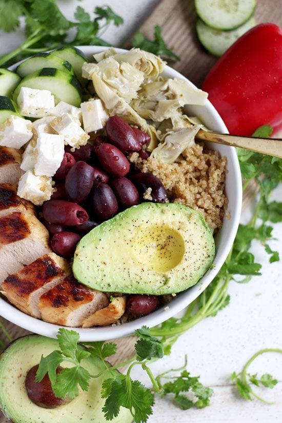 Organic Mediterranean Chicken Quinoa Bowl + Avocado. thewoodenskillet.com