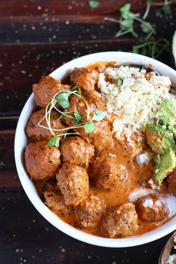 Curried Grassfed Meatballs + Cauliflower Rice and Avocado