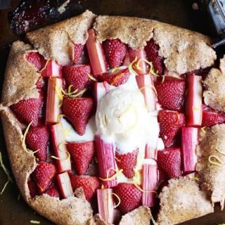 Strawberry Rhubarb Galette + Vanilla Bean Ice Cream - thewoodenskillet.com