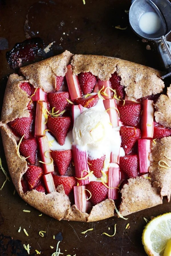 Strawberry Rhubarb Galette + Vanilla Bean Ice Cream - thewoodenskillet.com