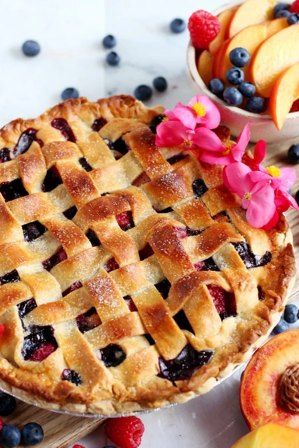 Peach, Raspberry and Blueberry Summer Pie