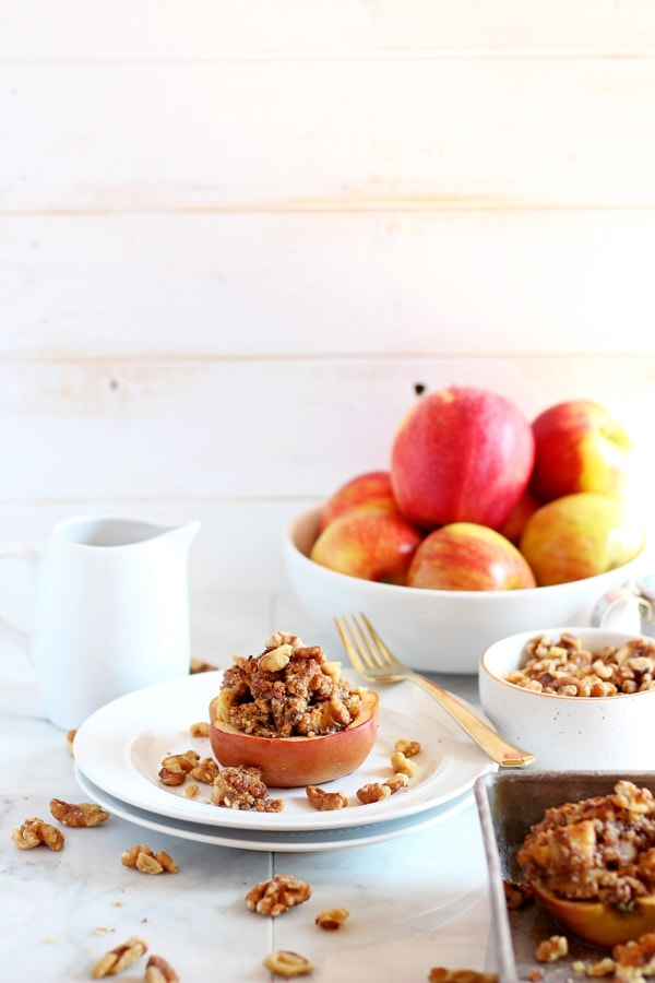 Vegan Twice Baked Maple Pecan Apples - a cute spin on twice baked potatoes, this delicious dessert is vegan, paleo and dairy free! thewoodenskillet.com