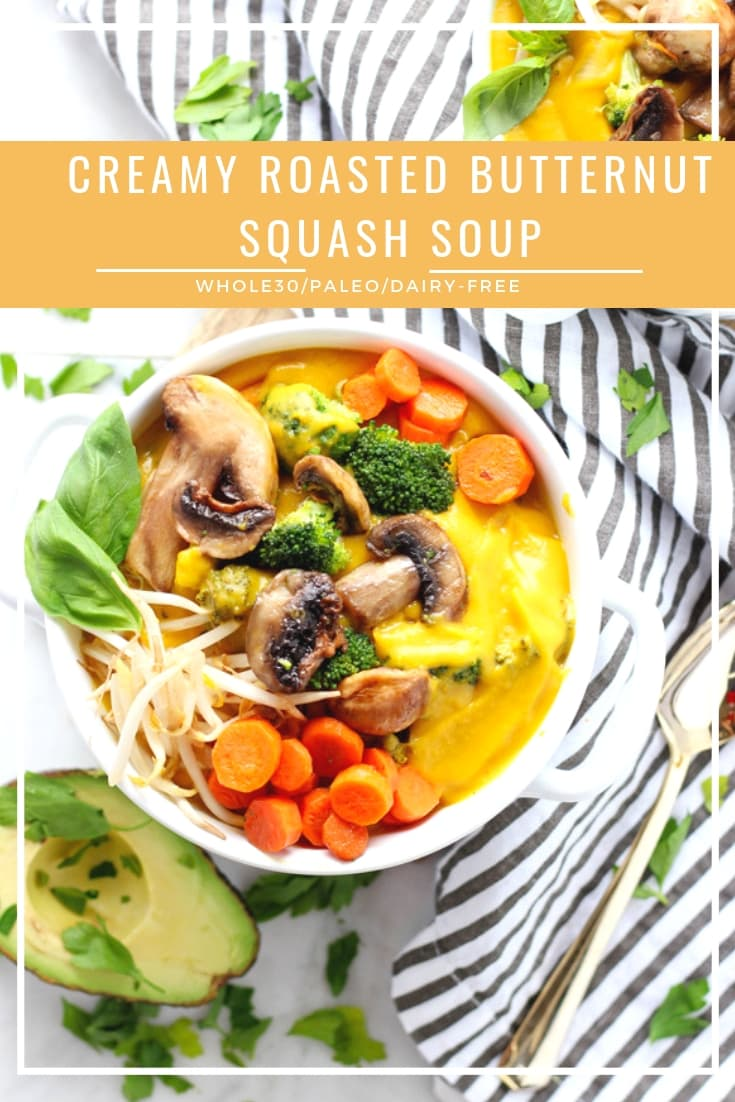 Creamy Roasted Butternut Squash Soup - a decadent and delicious winter soup that is so creamy and so delicious! #whole30 #dairyfree #paleo #soup