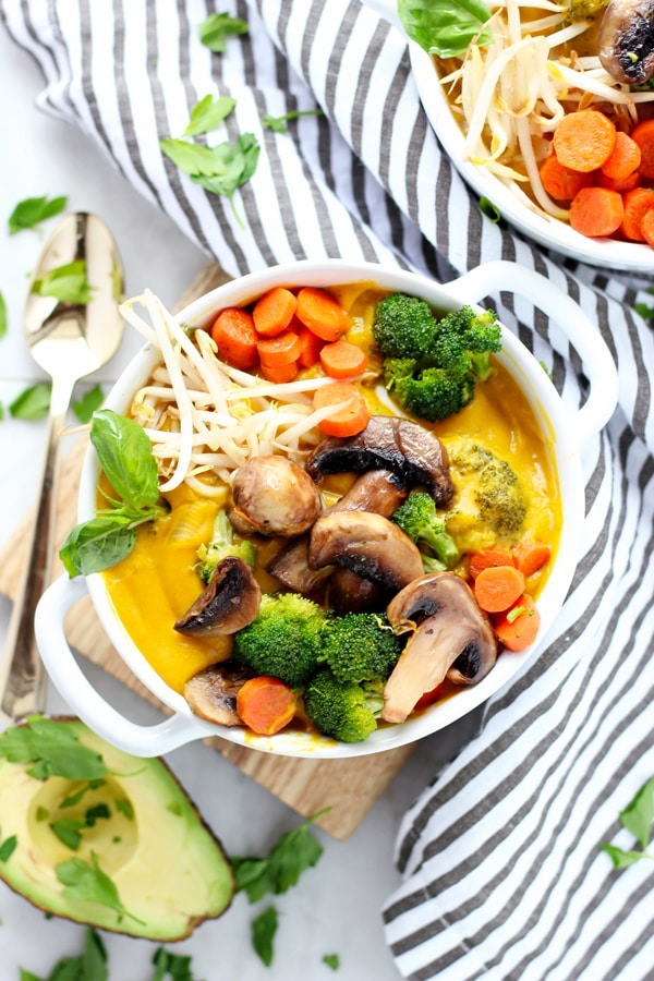 Creamy Vegan Butternut Squash Soup with Roasted Vegetables