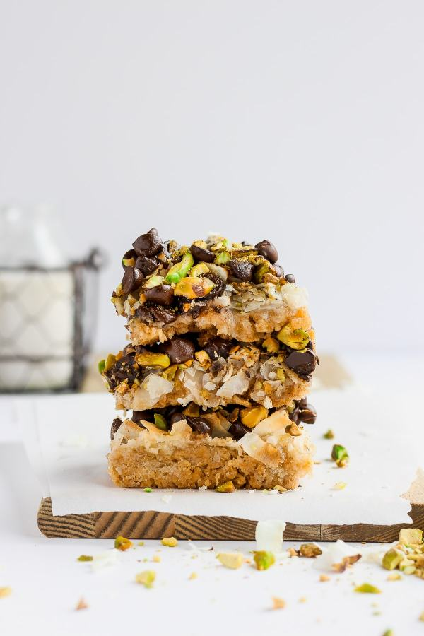 Pistachio Seven Layer Cookie Bars (Dairy-Free and Vegan)