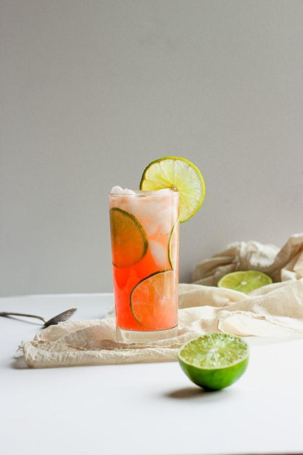 Refreshing Guava Lime Kombucha Mocktail
