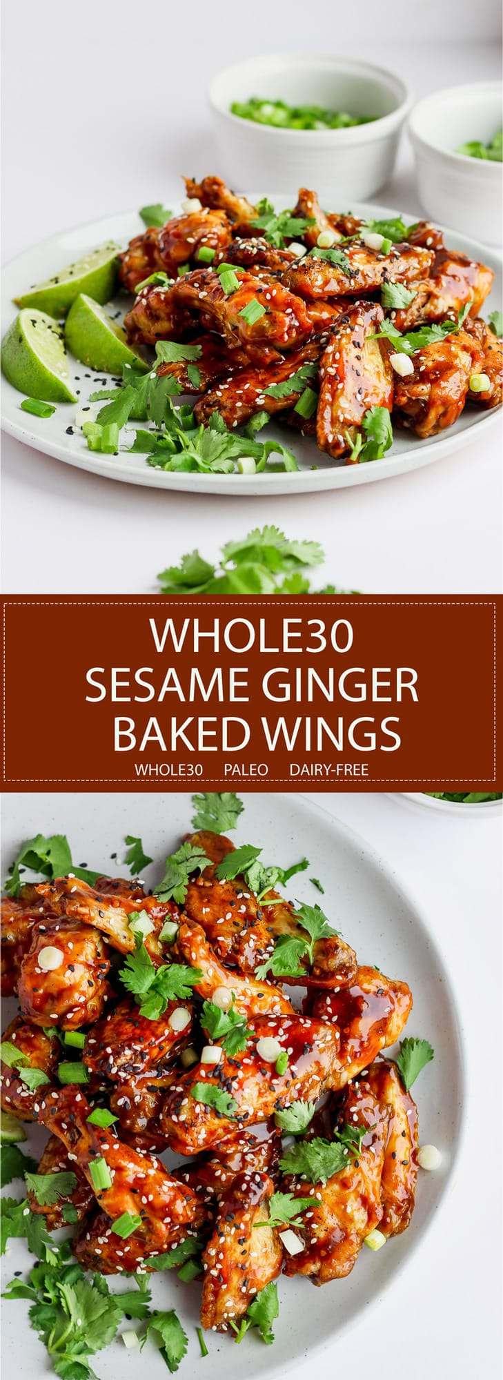 Easy Sesame Ginger Baked Wings - the perfect game day food that Whole30 and Paleo!