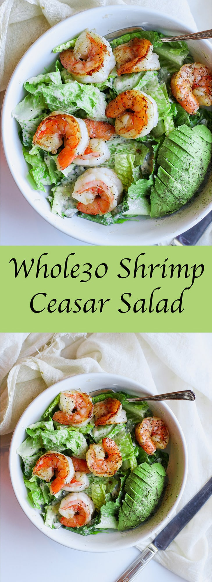 Whole30 Shrimp Cesar Salad - a quick and easy Whole30 dinner!