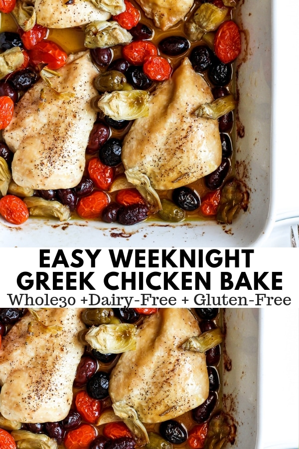 Easy Weeknight Greek Chicken Bake - throw everything in a pan and be done!  So simple and so delicious!!  Whole30, Paleo, Dairy-Free and Gluten-Free!!  #whole30recipes #easyweeknightdinnerideas #chickenrecipes #paleorecipes #onepanmeals #dairyfreerecipes #glutenfreerecipes