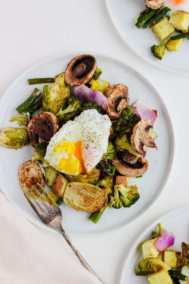 Weeknight Roasted Veggies with Poached Egg
