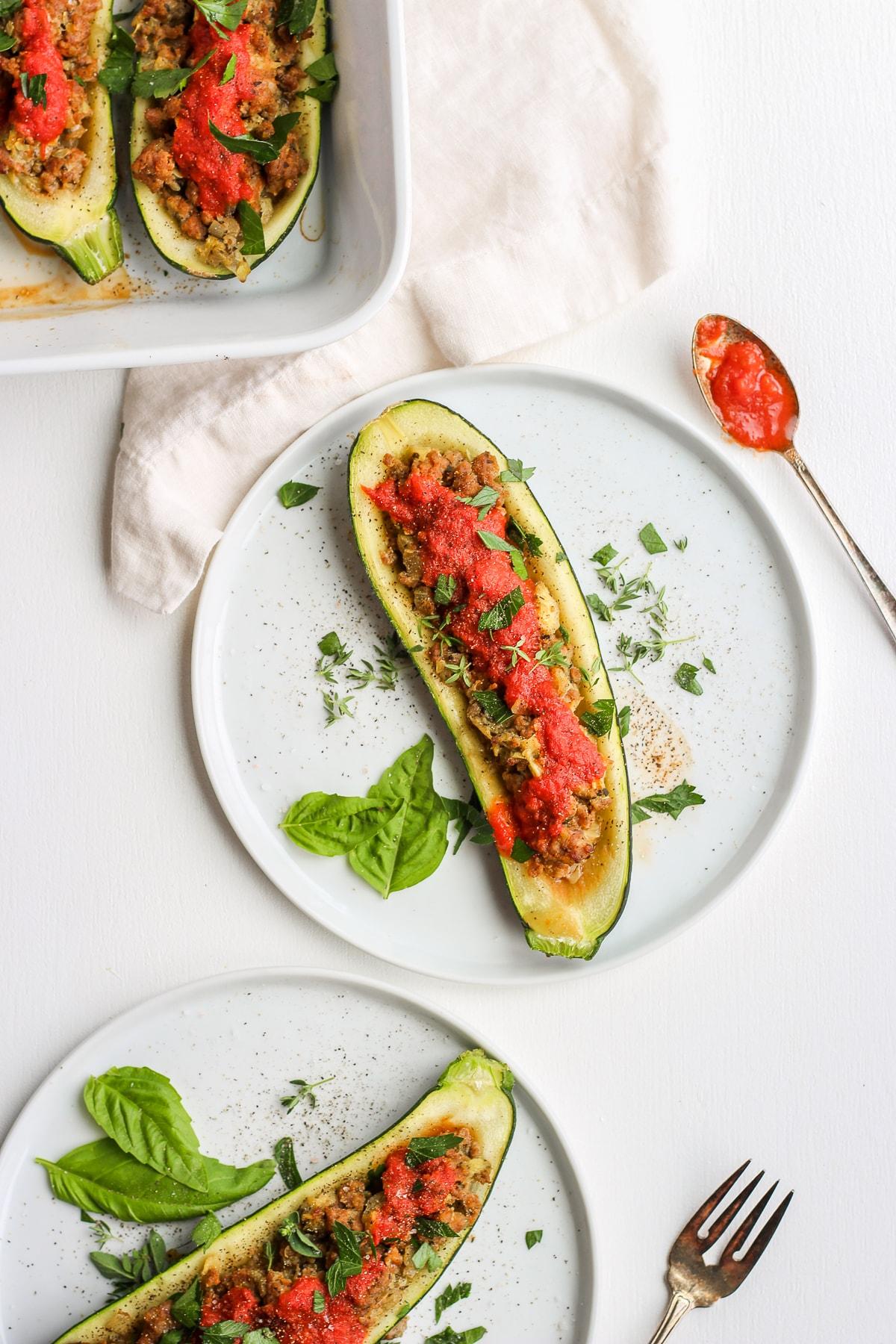 Healthy Italian Sausage Stuffed Zucchini - the perfect way to use your summer zucchini! #whole30 #dairyfree