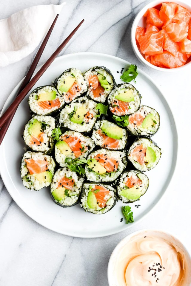 Spicy Salmon and Avocado Cauliflower Rice Sushi Roll