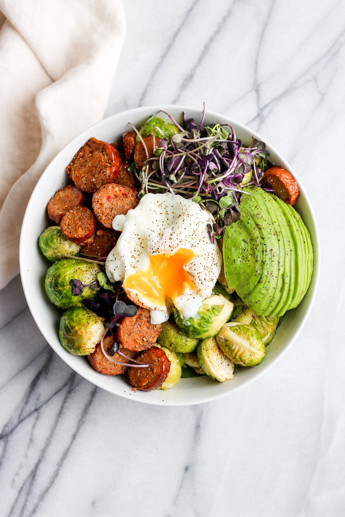 20 Minute Chorizo and Brussel Sprout Weeknight Dinner Bowl - a quick and easy weeknight dinner that is beyond easy! #weeknight #whole30 #paleo