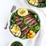 Grilled Flank Steak Salad + Jalapeño Chimichurri and Avocado - a light and delicious summer salad that is full of flavor! #whole30recipes #paleo #salad
