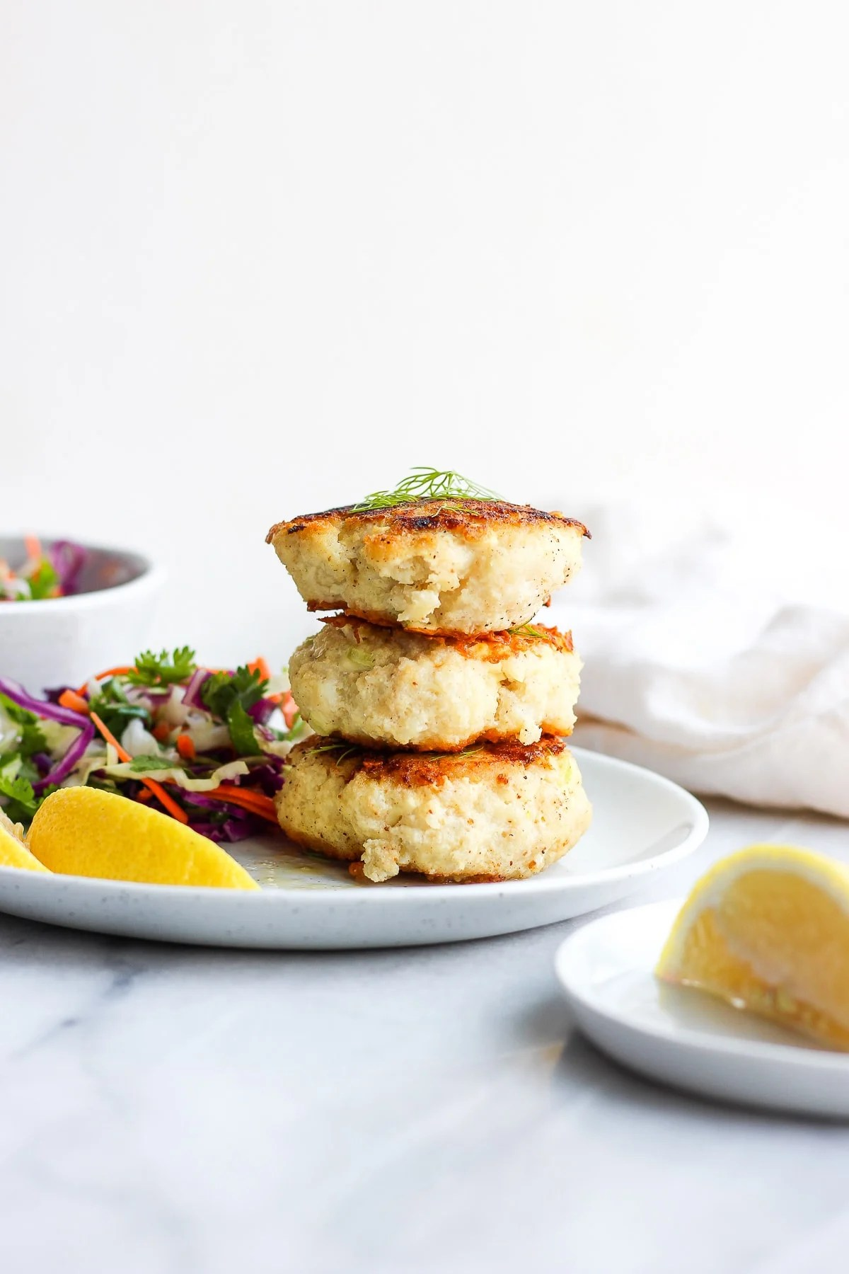 Buttery Pan Seared Cod Cakes - a simple and delicious dinner that is Whole30 compliant! #whole30 #cod #codcakes #paleo #easyweeknight