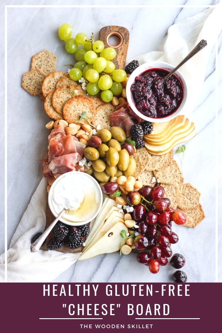 """Healthy Gluten-Free """"Cheese"""" Board - a fun and delicious option that is grain-free, gluten-free and can easily be dairy-free! Nothing like a fun grazing table for dinner (date night!) and can be the perfect appetizer for your next party or Game Day! #grazingtable #cheeseboard #charcuterie #appetizer #holidayrecipes #holiday"""