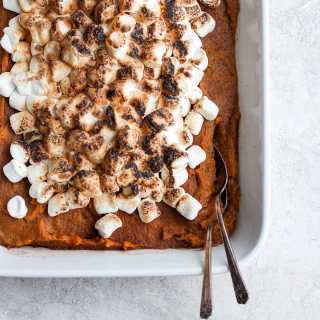 Sweet Potato Pie Bake (Dairy-Free/Paleo-Friendly) - the perfect side dish for any holiday meal or, skip the marshmallows, and it is the perfect side dish for ANY meal! So easy and tastes just like pumpkin pie!! #thanksgiving #christmas #paleo #dairyfree #sweetpotato
